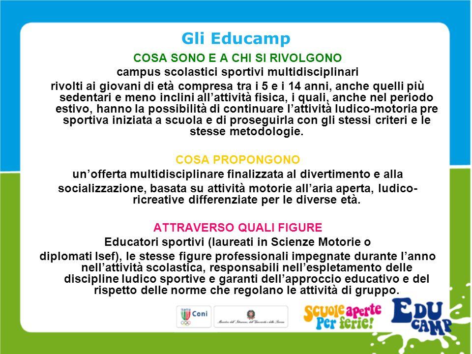 Gli elementi chiave Elementi chiave di questo progetto sono gli operatori: gli Educatori Sportivi - veri e propri punti di riferimento per i giovani iscritti - garanti della professionalità e dellapproccio educativo impiegato.