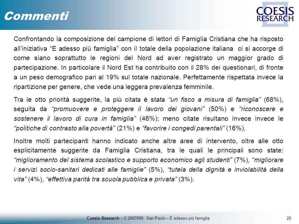 20Coesis Research - C 2007098 San Paolo – E adesso più famiglia Confrontando la composizione del campione di lettori di Famiglia Cristiana che ha risp
