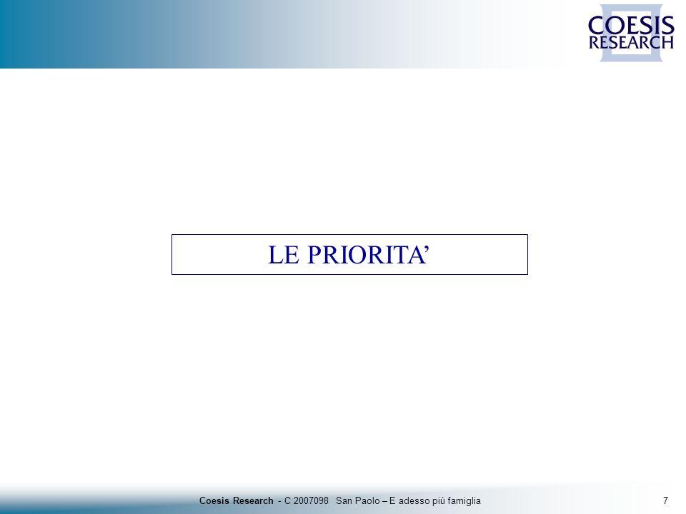 8Coesis Research - C 2007098 San Paolo – E adesso più famiglia Le priorità Base: totale campione - 5.012 casi Le priorità per le famiglie italiane Risposte suggerite Risposte spontanee