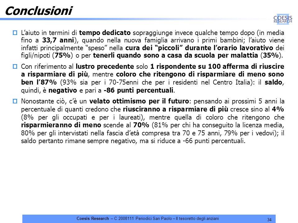 34 Coesis Research – C 2008111 Periodici San Paolo – Il tesoretto degli anziani Conclusioni Laiuto in termini di tempo dedicato sopraggiunge invece qu