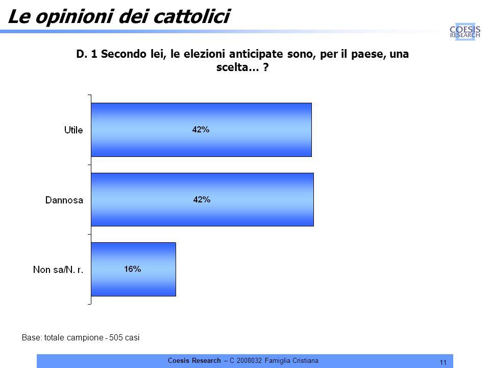 11 Coesis Research – C 2008032 Famiglia Cristiana Le opinioni dei cattolici D.
