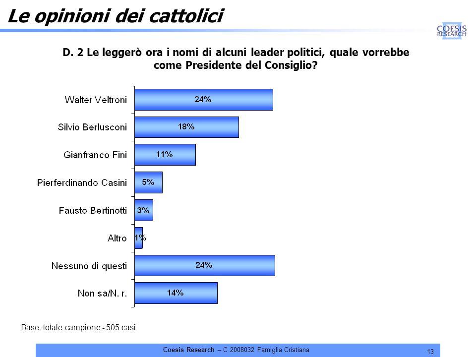 13 Coesis Research – C 2008032 Famiglia Cristiana Le opinioni dei cattolici D.
