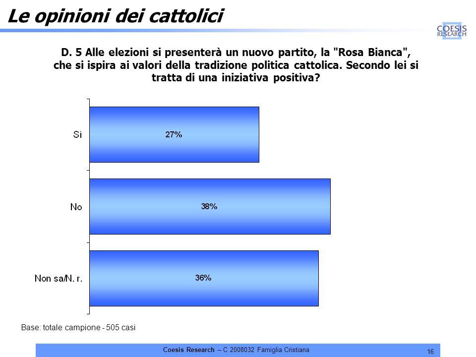 16 Coesis Research – C 2008032 Famiglia Cristiana Le opinioni dei cattolici D.