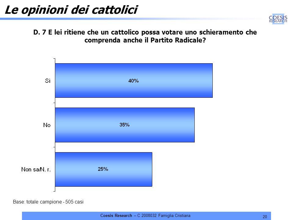 20 Coesis Research – C 2008032 Famiglia Cristiana Le opinioni dei cattolici D.