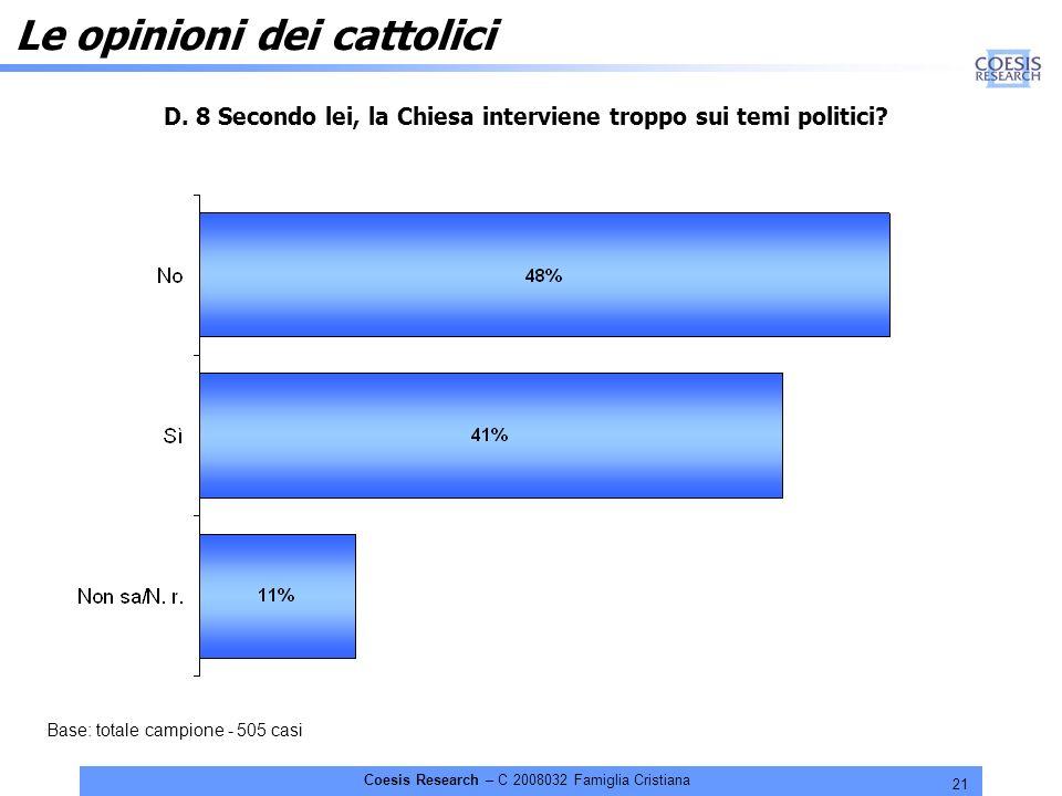 21 Coesis Research – C 2008032 Famiglia Cristiana Le opinioni dei cattolici D.