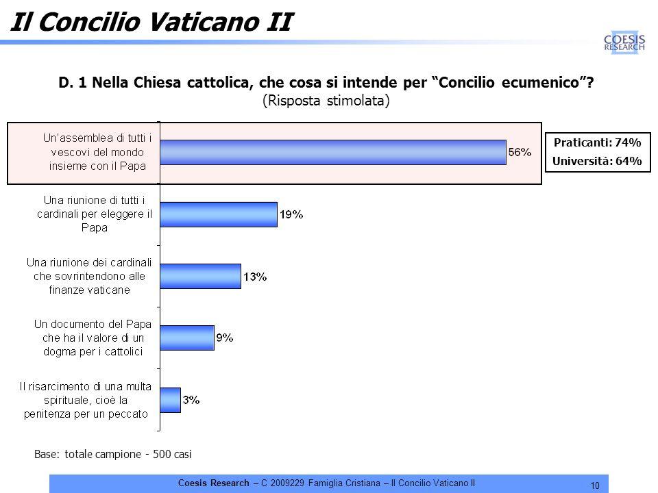 10 Coesis Research – C 2009229 Famiglia Cristiana – Il Concilio Vaticano II D. 1 Nella Chiesa cattolica, che cosa si intende per Concilio ecumenico? (
