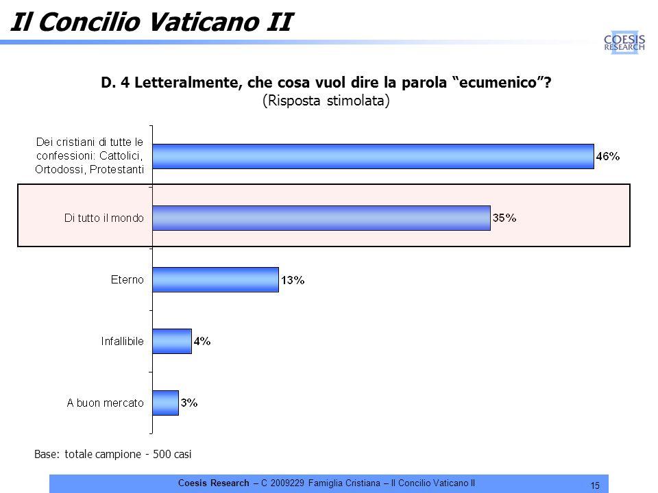 15 Coesis Research – C 2009229 Famiglia Cristiana – Il Concilio Vaticano II D. 4 Letteralmente, che cosa vuol dire la parola ecumenico? (Risposta stim