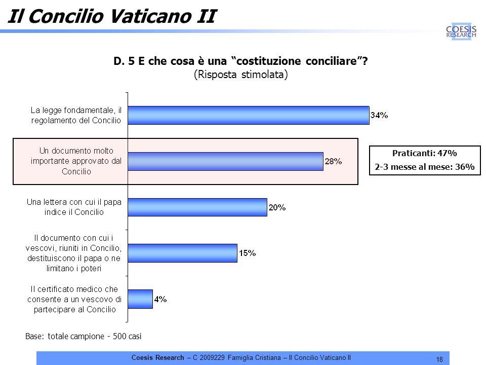 18 Coesis Research – C 2009229 Famiglia Cristiana – Il Concilio Vaticano II D. 5 E che cosa è una costituzione conciliare? (Risposta stimolata) Base: