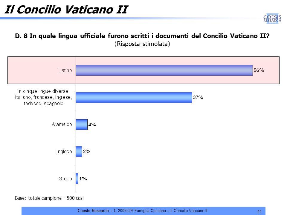 21 Coesis Research – C 2009229 Famiglia Cristiana – Il Concilio Vaticano II D. 8 In quale lingua ufficiale furono scritti i documenti del Concilio Vat