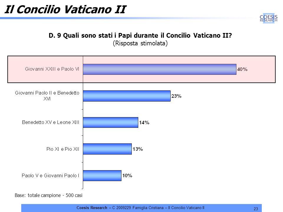23 Coesis Research – C 2009229 Famiglia Cristiana – Il Concilio Vaticano II D. 9 Quali sono stati i Papi durante il Concilio Vaticano II? (Risposta st