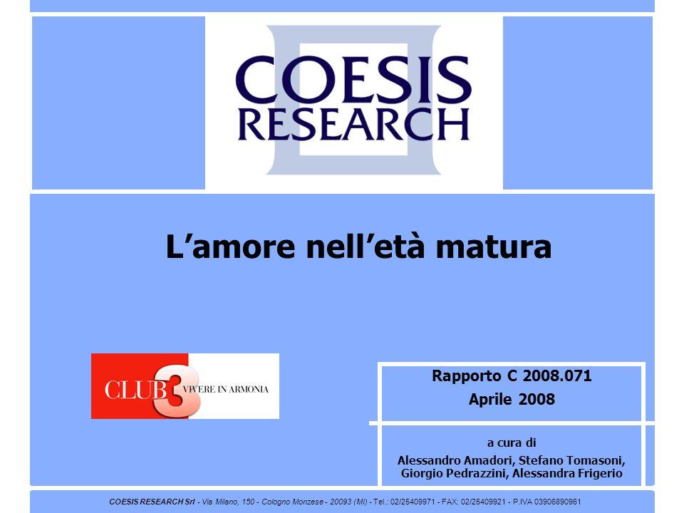 2 Coesis Research – C 2008071 Famiglia Cristiana – Lamore nelletà matura Indice Pag.