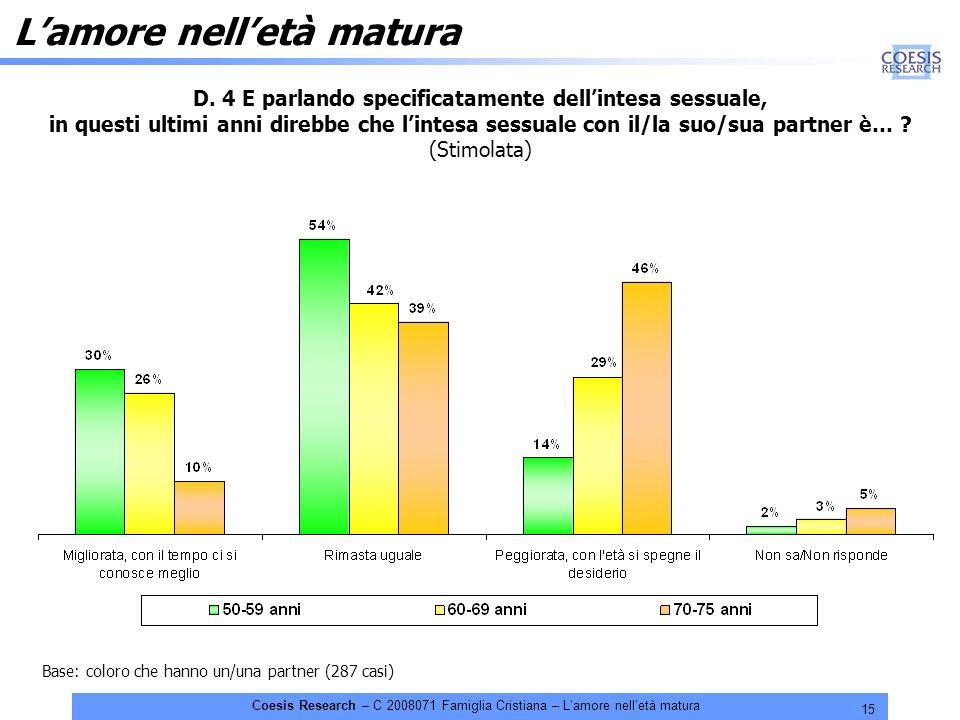 15 Coesis Research – C 2008071 Famiglia Cristiana – Lamore nelletà matura Base: coloro che hanno un/una partner (287 casi) D. 4 E parlando specificata
