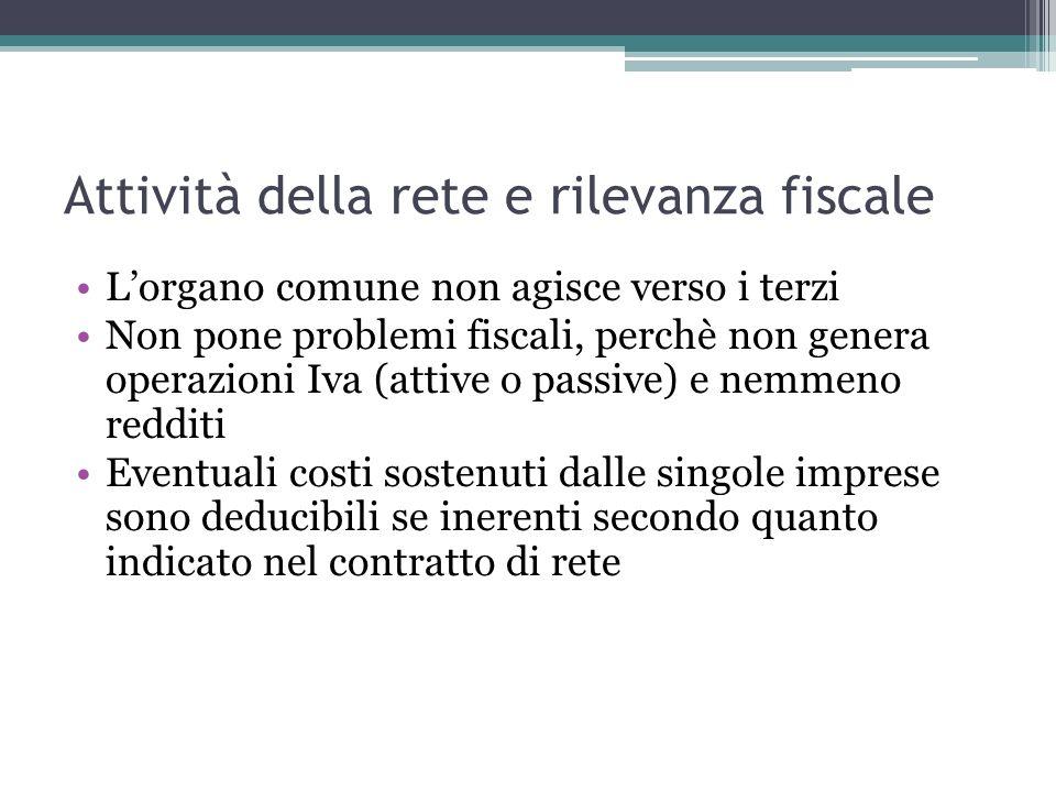 Attività della rete e rilevanza fiscale Lorgano comune non agisce verso i terzi Non pone problemi fiscali, perchè non genera operazioni Iva (attive o