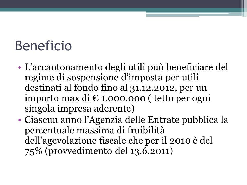 Beneficio Laccantonamento degli utili può beneficiare del regime di sospensione dimposta per utili destinati al fondo fino al 31.12.2012, per un impor