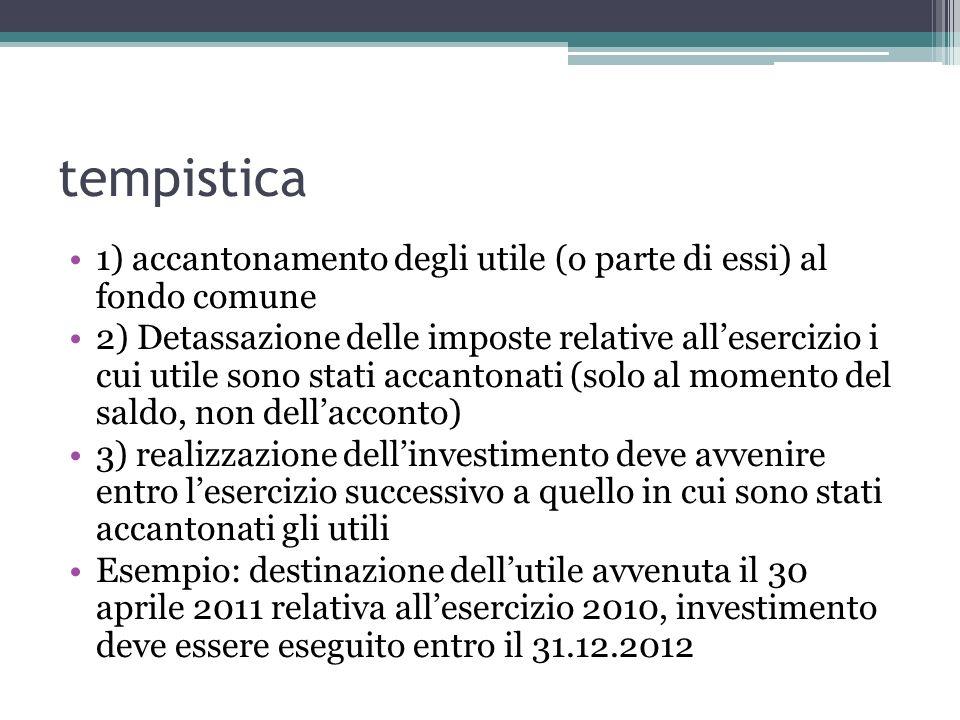 tempistica 1) accantonamento degli utile (o parte di essi) al fondo comune 2) Detassazione delle imposte relative allesercizio i cui utile sono stati