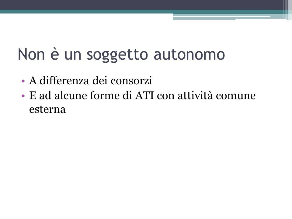Non è un soggetto autonomo A differenza dei consorzi E ad alcune forme di ATI con attività comune esterna