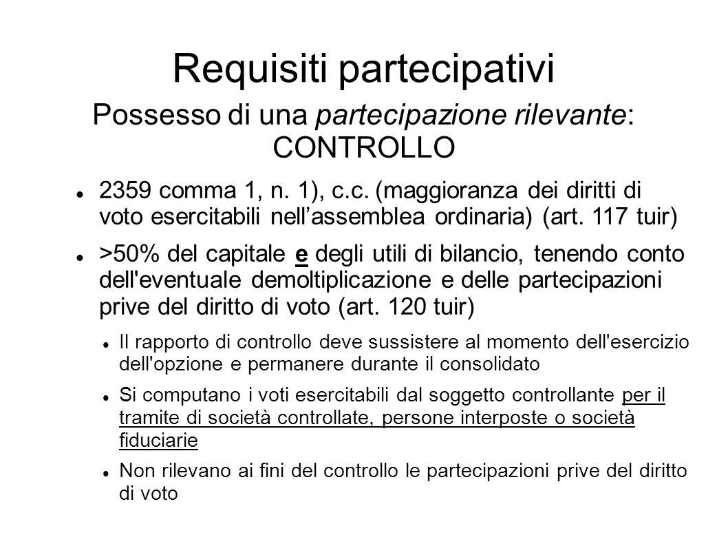 Requisiti partecipativi Possesso di una partecipazione rilevante: CONTROLLO 2359 comma 1, n. 1), c.c. (maggioranza dei diritti di voto esercitabili ne