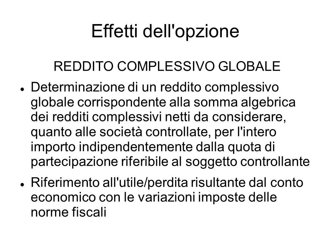 Effetti dell'opzione REDDITO COMPLESSIVO GLOBALE Determinazione di un reddito complessivo globale corrispondente alla somma algebrica dei redditi comp