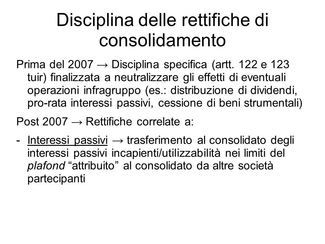 Disciplina delle rettifiche di consolidamento Prima del 2007 Disciplina specifica (artt. 122 e 123 tuir) finalizzata a neutralizzare gli effetti di ev