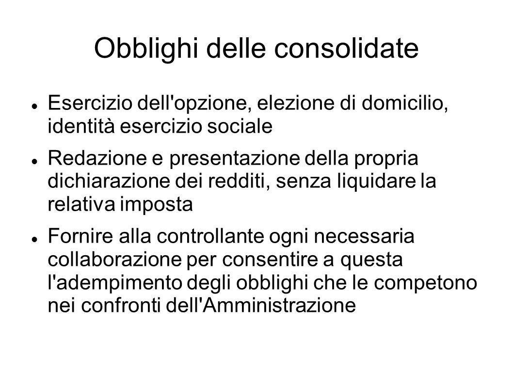 Obblighi delle consolidate Esercizio dell'opzione, elezione di domicilio, identità esercizio sociale Redazione e presentazione della propria dichiaraz