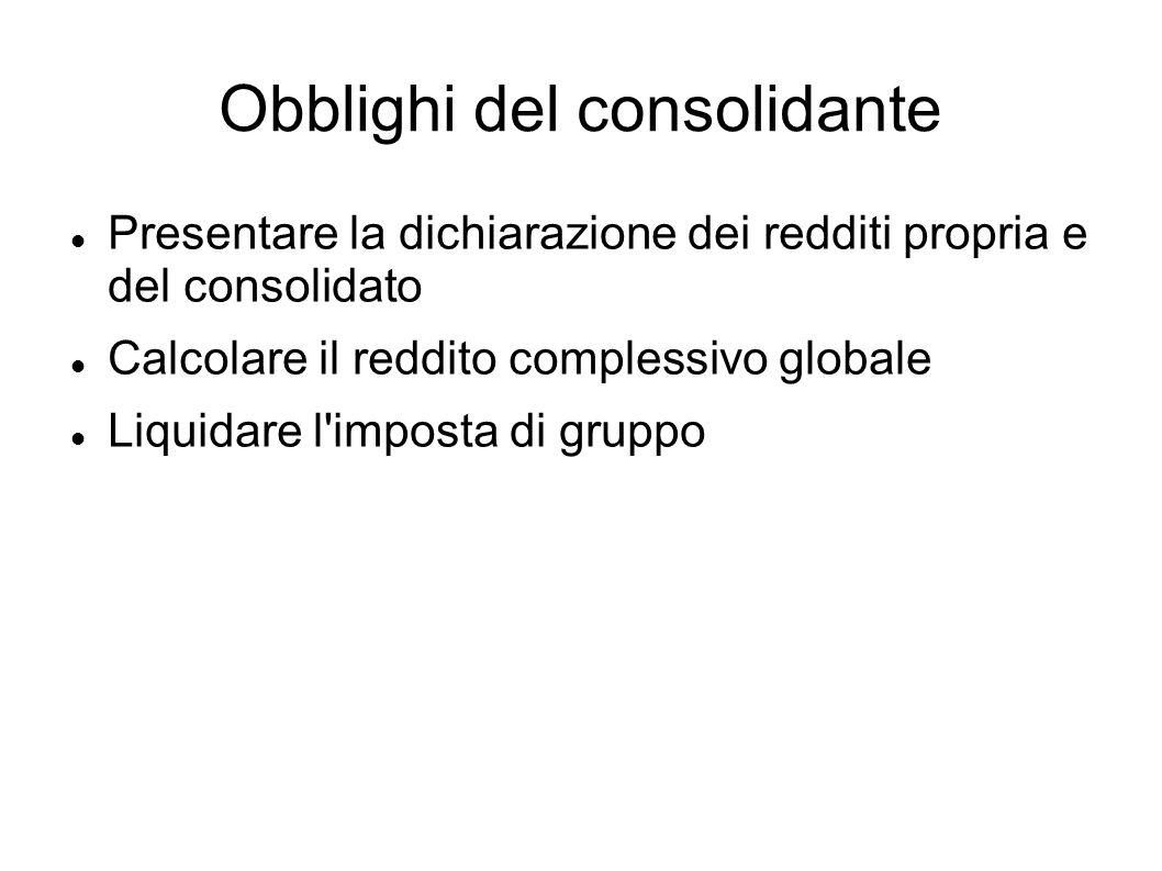 Obblighi del consolidante Presentare la dichiarazione dei redditi propria e del consolidato Calcolare il reddito complessivo globale Liquidare l'impos