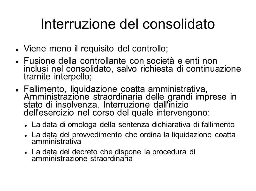 Interruzione del consolidato Viene meno il requisito del controllo; Fusione della controllante con società e enti non inclusi nel consolidato, salvo r