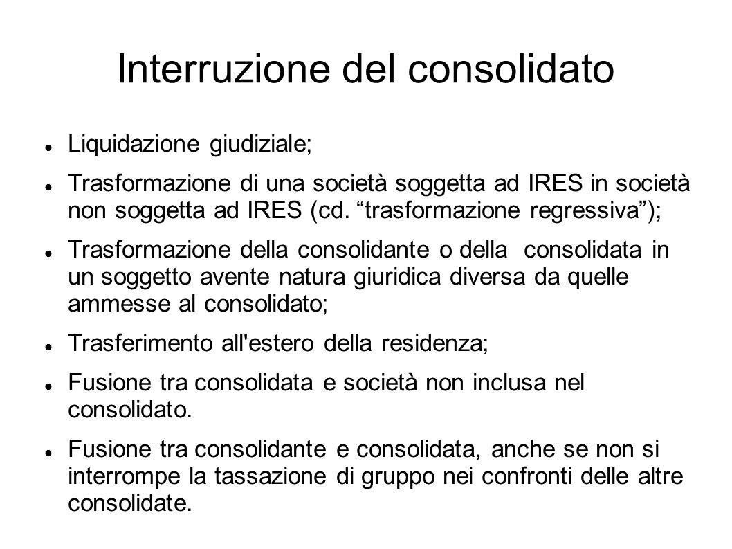 Interruzione del consolidato Liquidazione giudiziale; Trasformazione di una società soggetta ad IRES in società non soggetta ad IRES (cd. trasformazio