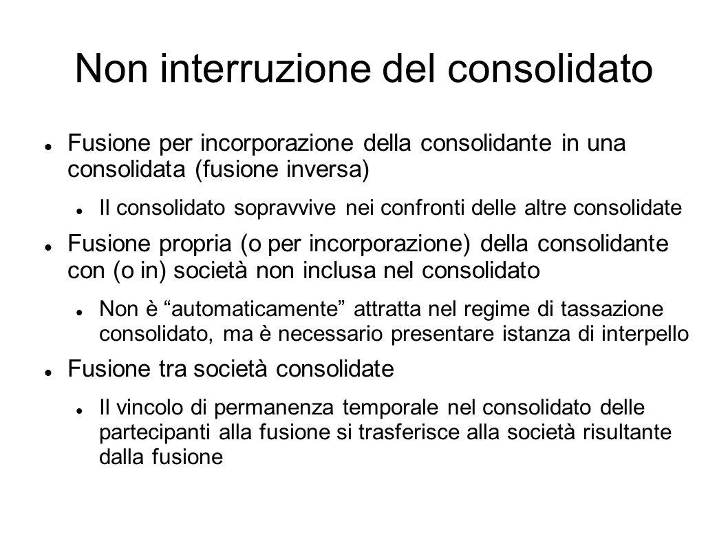 Non interruzione del consolidato Fusione per incorporazione della consolidante in una consolidata (fusione inversa) Il consolidato sopravvive nei conf