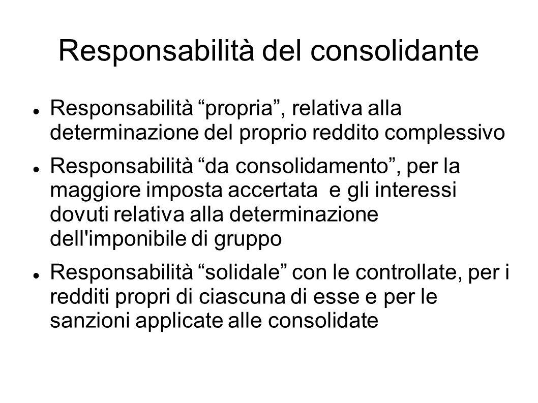 Responsabilità del consolidante Responsabilità propria, relativa alla determinazione del proprio reddito complessivo Responsabilità da consolidamento,