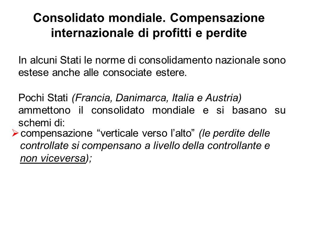 Consolidato mondiale. Compensazione internazionale di profitti e perdite In alcuni Stati le norme di consolidamento nazionale sono estese anche alle c