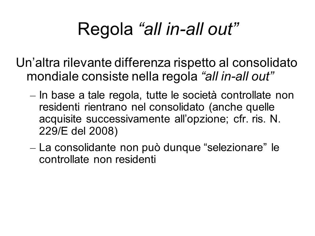 Regola all in-all out Unaltra rilevante differenza rispetto al consolidato mondiale consiste nella regola all in-all out – In base a tale regola, tutt