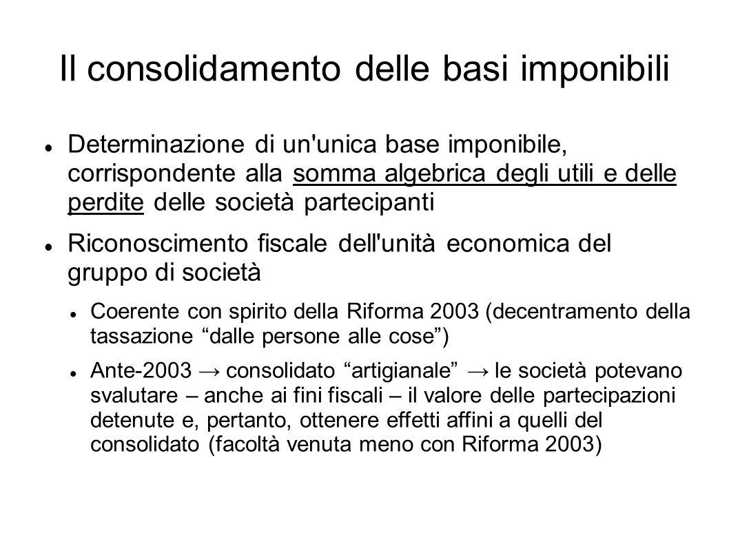 Il consolidamento delle basi imponibili Determinazione di un'unica base imponibile, corrispondente alla somma algebrica degli utili e delle perdite de