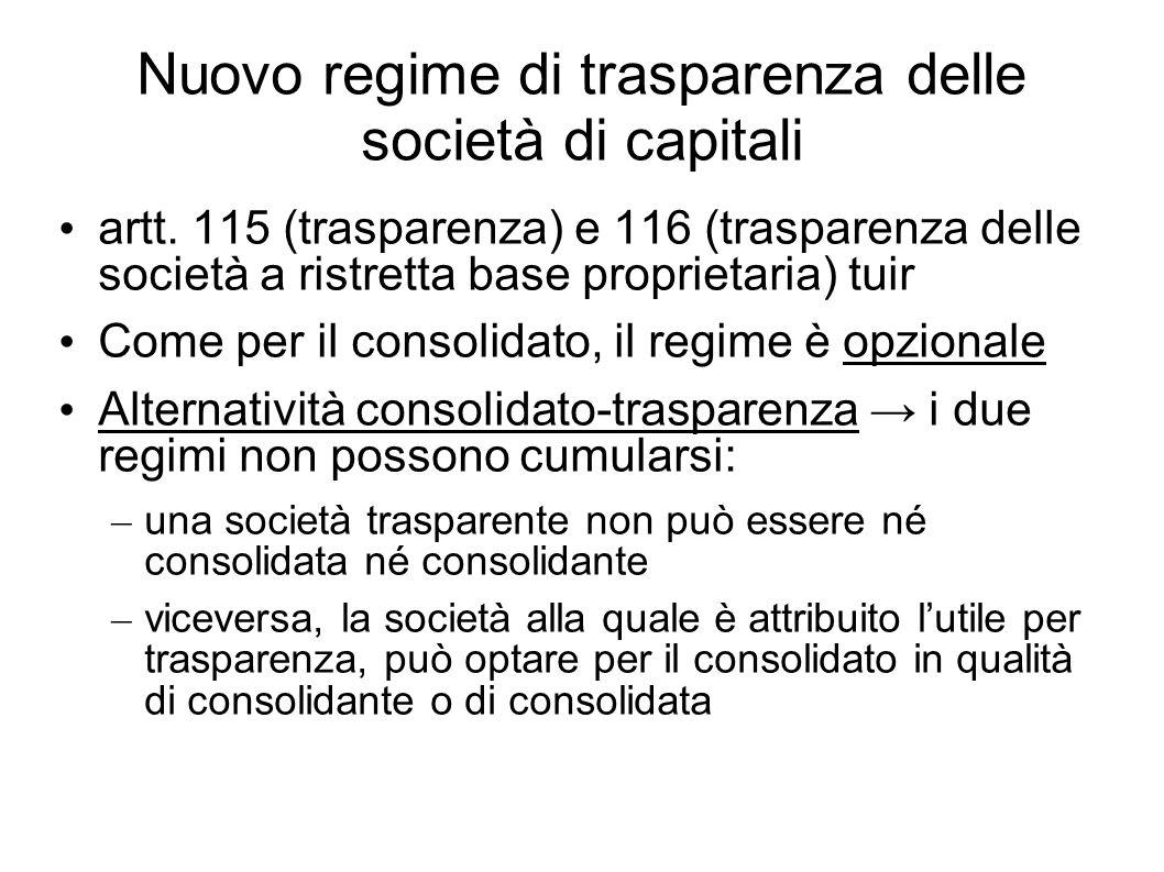 Nuovo regime di trasparenza delle società di capitali artt. 115 (trasparenza) e 116 (trasparenza delle società a ristretta base proprietaria) tuir Com