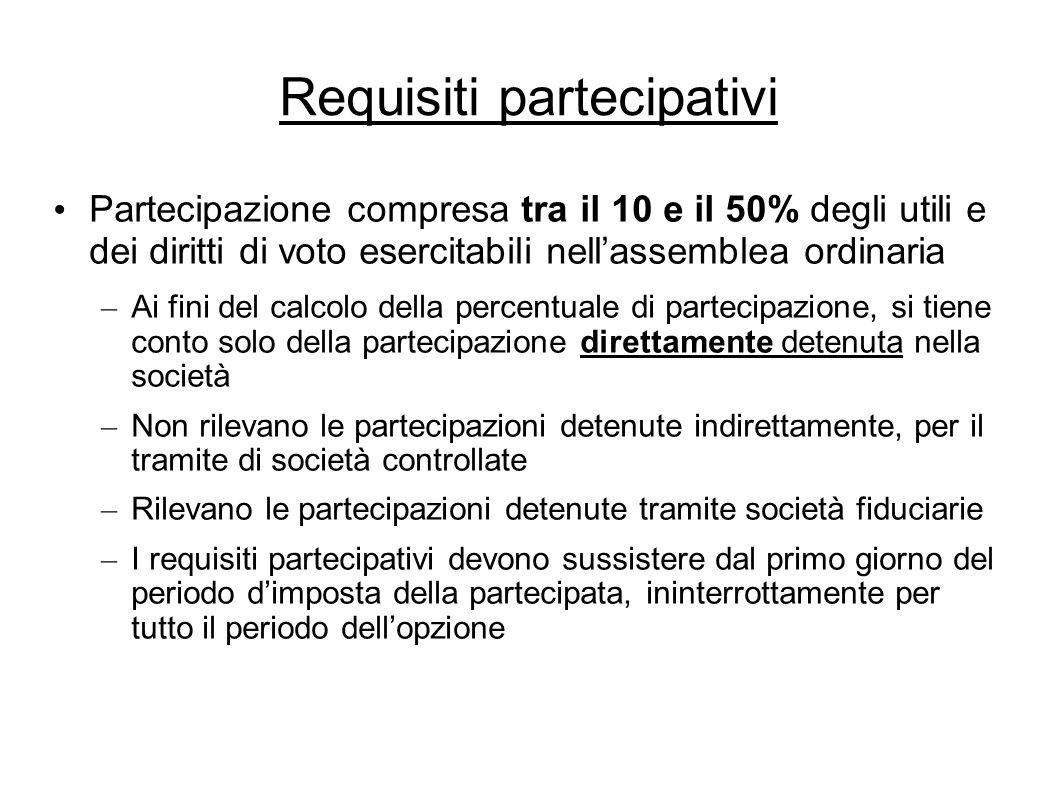 Requisiti partecipativi Partecipazione compresa tra il 10 e il 50% degli utili e dei diritti di voto esercitabili nellassemblea ordinaria – Ai fini de