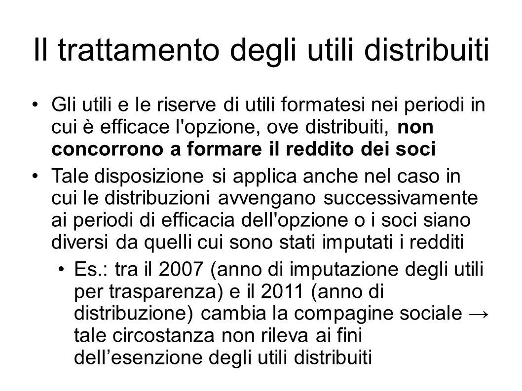 Il trattamento degli utili distribuiti Gli utili e le riserve di utili formatesi nei periodi in cui è efficace l'opzione, ove distribuiti, non concorr