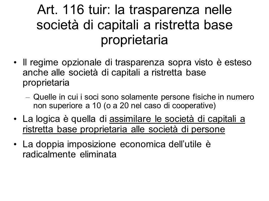 Art. 116 tuir: la trasparenza nelle società di capitali a ristretta base proprietaria Il regime opzionale di trasparenza sopra visto è esteso anche al