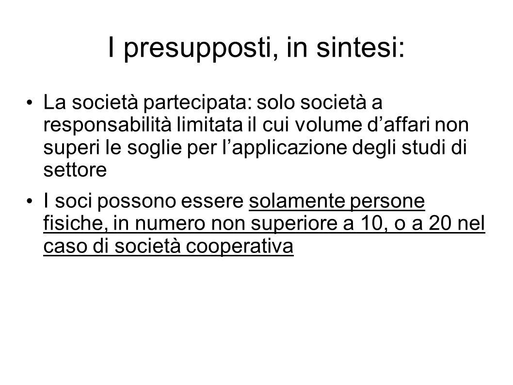 I presupposti, in sintesi: La società partecipata: solo società a responsabilità limitata il cui volume daffari non superi le soglie per lapplicazione