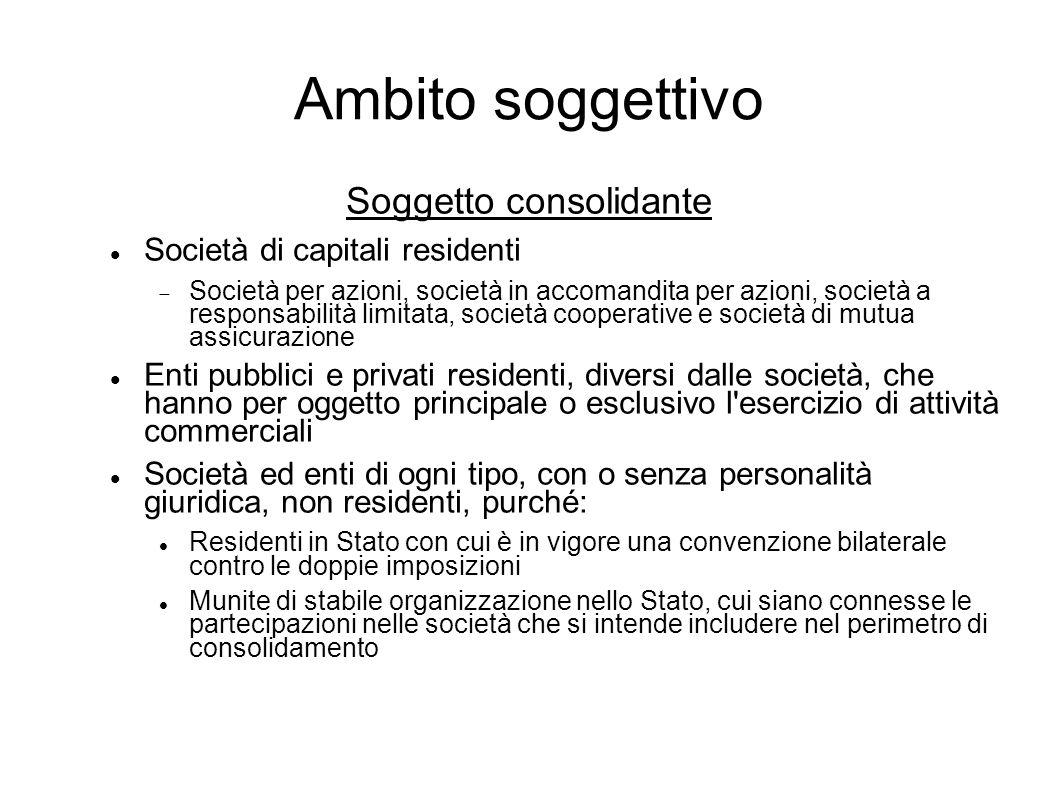 Ambito soggettivo Soggetto consolidante Società di capitali residenti Società per azioni, società in accomandita per azioni, società a responsabilità