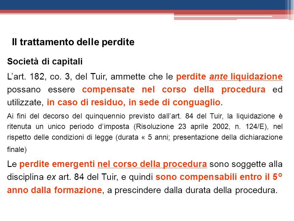 Società di capitali Lart. 182, co. 3, del Tuir, ammette che le perdite ante liquidazione possano essere compensate nel corso della procedura ed utiliz