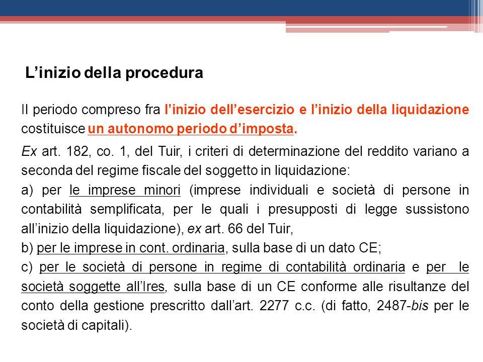 Il periodo compreso fra linizio dellesercizio e linizio della liquidazione costituisce un autonomo periodo dimposta. Ex art. 182, co. 1, del Tuir, i c
