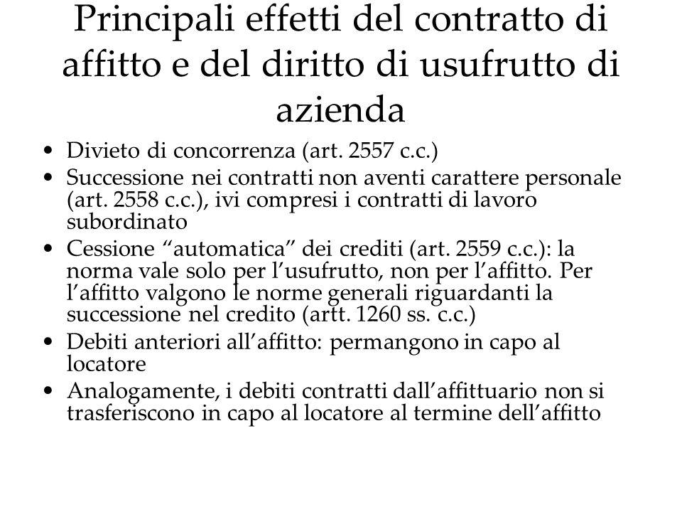 Principali effetti del contratto di affitto e del diritto di usufrutto di azienda Divieto di concorrenza (art. 2557 c.c.) Successione nei contratti no