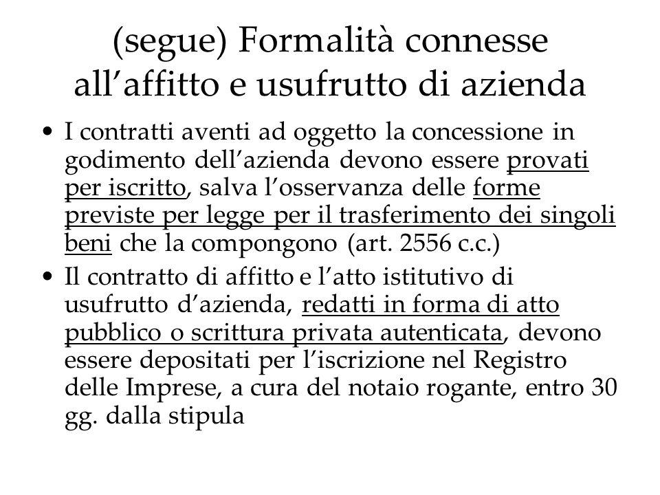 (segue) Formalità connesse allaffitto e usufrutto di azienda I contratti aventi ad oggetto la concessione in godimento dellazienda devono essere prova