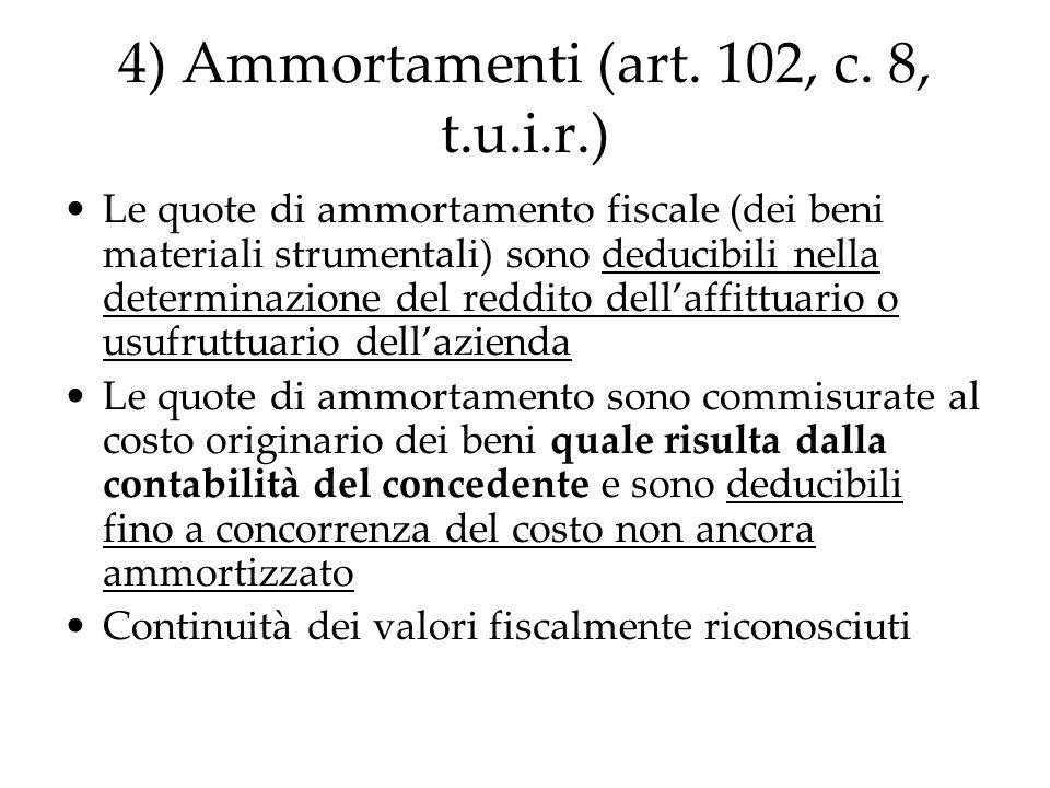 4) Ammortamenti (art. 102, c. 8, t.u.i.r.) Le quote di ammortamento fiscale (dei beni materiali strumentali) sono deducibili nella determinazione del