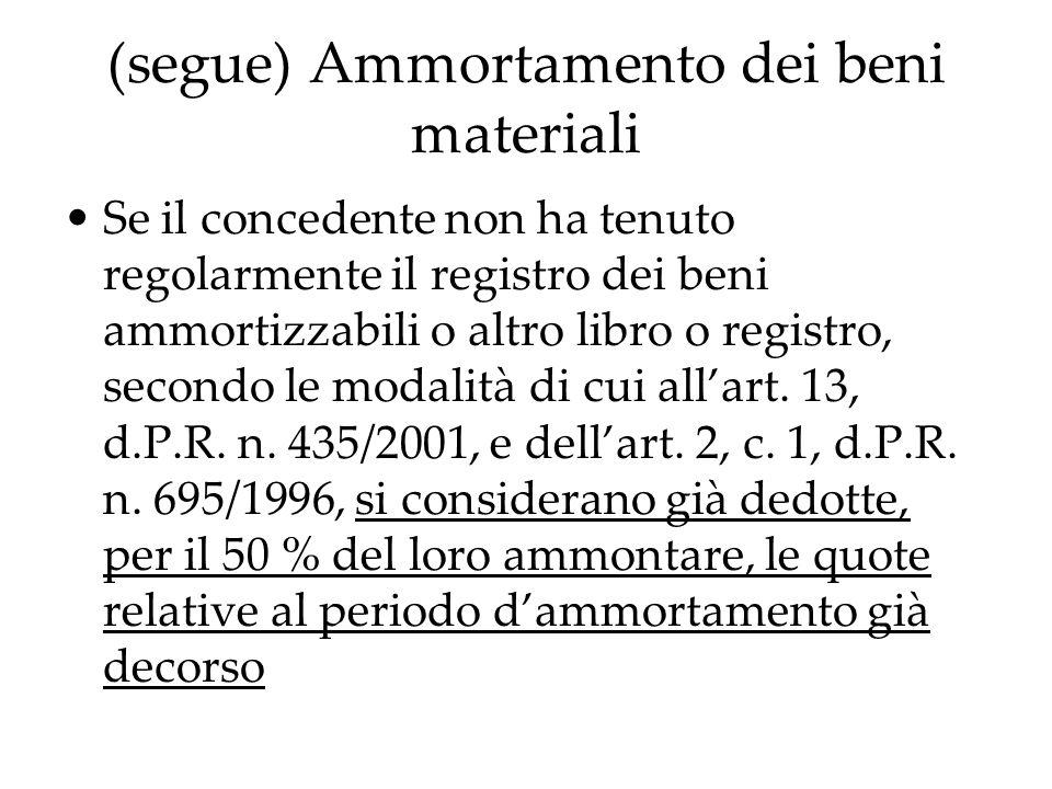 (segue) Ammortamento dei beni materiali Se il concedente non ha tenuto regolarmente il registro dei beni ammortizzabili o altro libro o registro, seco
