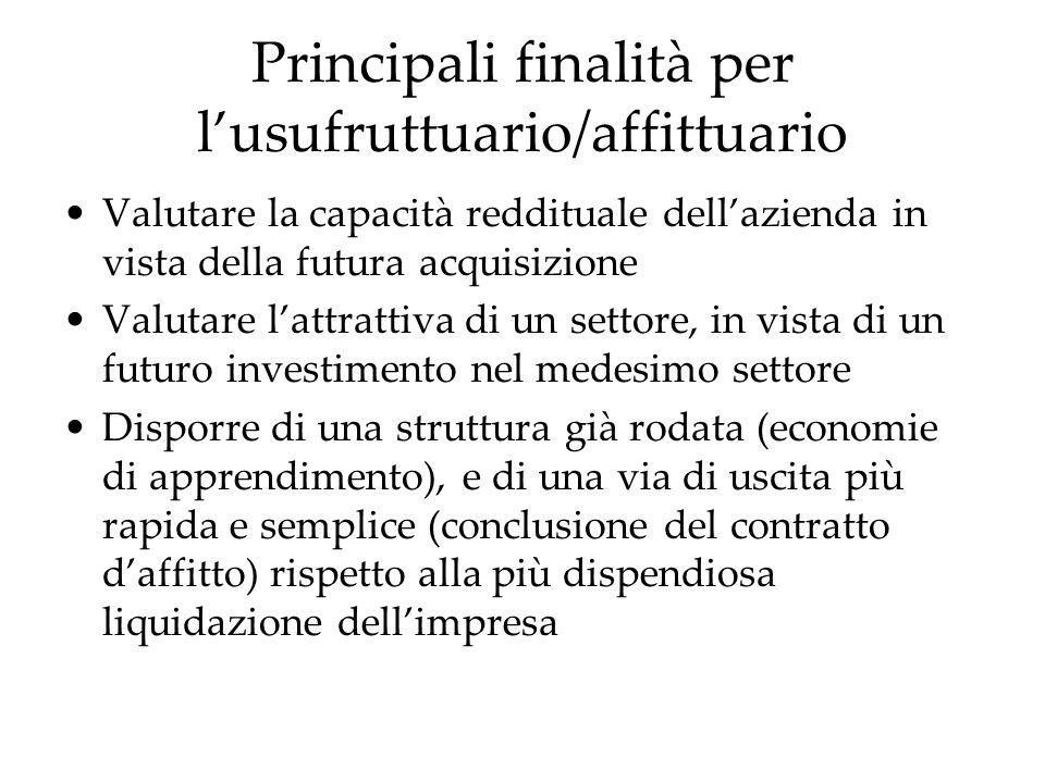Principali finalità per lusufruttuario/affittuario Valutare la capacità reddituale dellazienda in vista della futura acquisizione Valutare lattrattiva