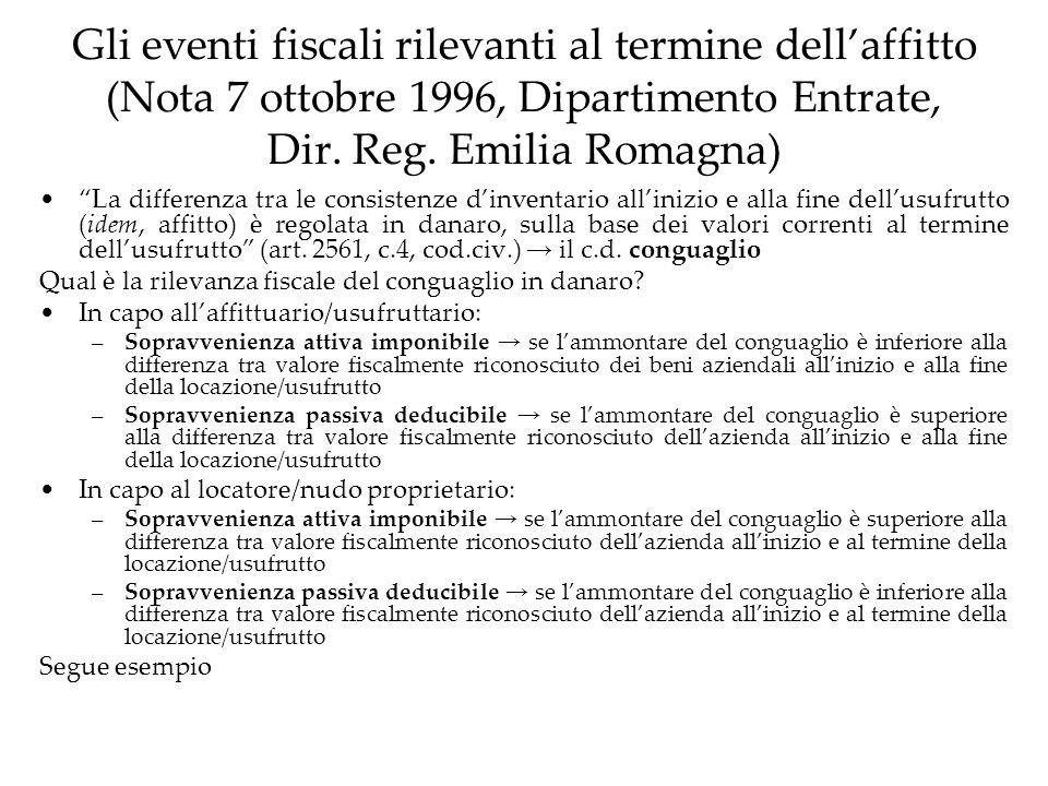 Gli eventi fiscali rilevanti al termine dellaffitto (Nota 7 ottobre 1996, Dipartimento Entrate, Dir. Reg. Emilia Romagna) La differenza tra le consist