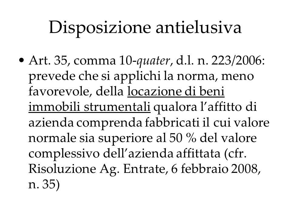 Disposizione antielusiva Art. 35, comma 10-quater, d.l. n. 223/2006: prevede che si applichi la norma, meno favorevole, della locazione di beni immobi