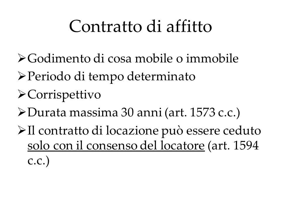 Contratto di affitto Godimento di cosa mobile o immobile Periodo di tempo determinato Corrispettivo Durata massima 30 anni (art. 1573 c.c.) Il contrat
