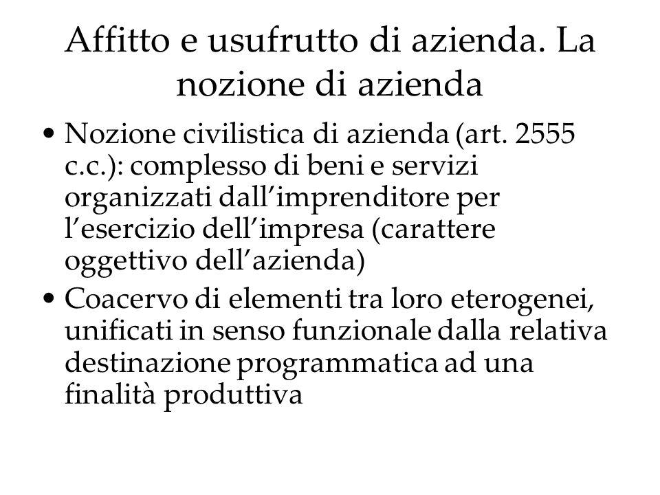 Affitto e usufrutto di azienda. La nozione di azienda Nozione civilistica di azienda (art. 2555 c.c.): complesso di beni e servizi organizzati dallimp
