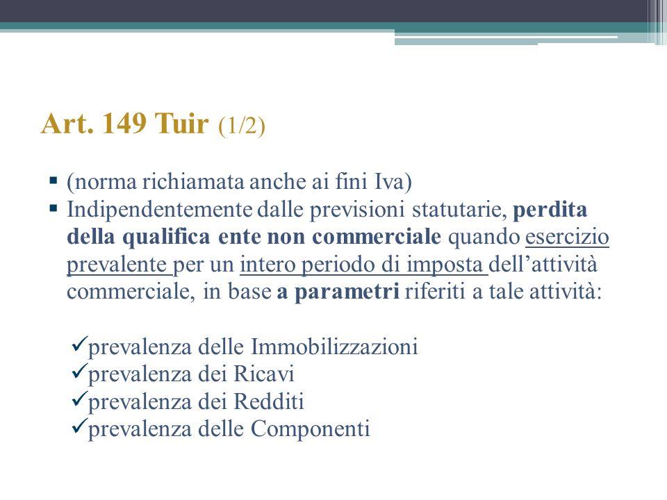 Art. 149 Tuir (1/2) (norma richiamata anche ai fini Iva) Indipendentemente dalle previsioni statutarie, perdita della qualifica ente non commerciale q